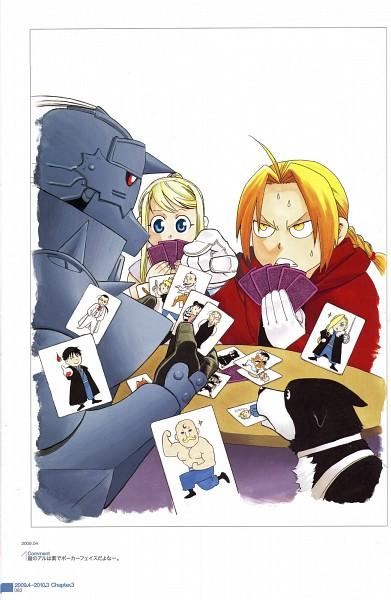 Tags: Anime, Arakawa Hiromu, Fullmetal Alchemist, Winry Rockbell, Den (FMA), Alphonse Elric, Edward Elric, Card Game, Mobile Wallpaper