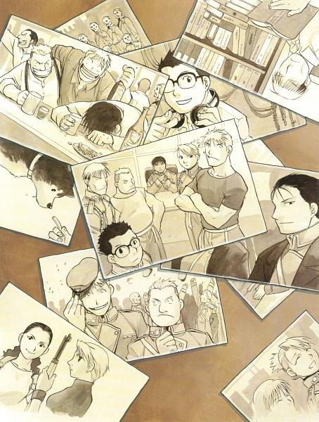 Tags: Anime, Arakawa Hiromu, Fullmetal Alchemist, Riza Hawkeye, Vato Falman, Jean Havoc, Kain Fuery, Roy Mustang, Heymans Breda, Black Hayate, Manga Page, Chapter Cover, Official Art