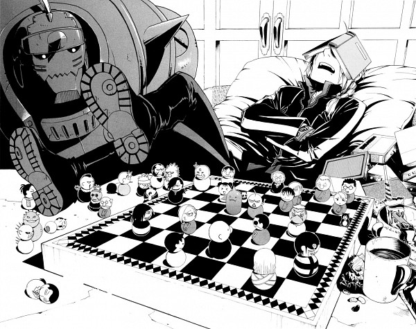 Tags: Anime, Arakawa Hiromu, Fullmetal Alchemist, Edward Elric, Alphonse Elric, Board Game, Book On Head, Chess, Object On Head, Official Art, Manga Page, Chapter Cover