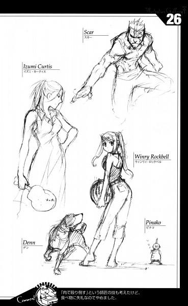 Tags: Anime, Arakawa Hiromu, Fullmetal Alchemist, Izumi Curtis, Den (FMA), Pinako Rockbell, Winry Rockbell, Scar (FMA), Sketch, Mobile Wallpaper