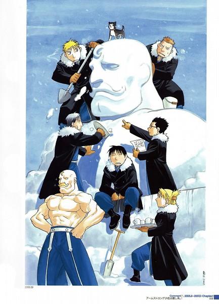 Tags: Anime, Arakawa Hiromu, Fullmetal Alchemist, Black Hayate, Vato Falman, Riza Hawkeye, Kain Fuery, Jean Havoc, Heymans Breda, Roy Mustang, Alex Louis Armstrong, Sculpture, Bucket