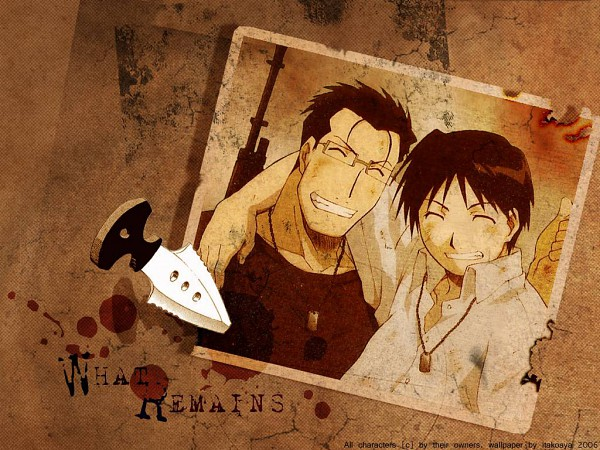 Tags: Anime, SQUARE ENIX, Fullmetal Alchemist, Maes Hughes, Roy Mustang, Official Art, Wallpaper