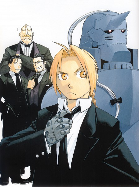 Tags: Anime, Arakawa Hiromu, SQUARE ENIX, Fullmetal Alchemist Brotherhood, Fullmetal Alchemist, Fullmetal Alchemist Art Book Vol. 2, Alex Louis Armstrong, Edward Elric, Maes Hughes, Alphonse Elric, Roy Mustang, Scan, Official Art