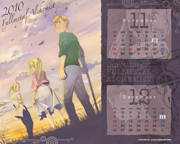 Tags: Anime, Arakawa Hiromu, SQUARE ENIX, Fullmetal Alchemist, Winry Rockbell, Alphonse Elric, Edward Elric, Dragonfly, Calendar 2010, Scan, Official Art, Calendar (Source), Elric Brothers