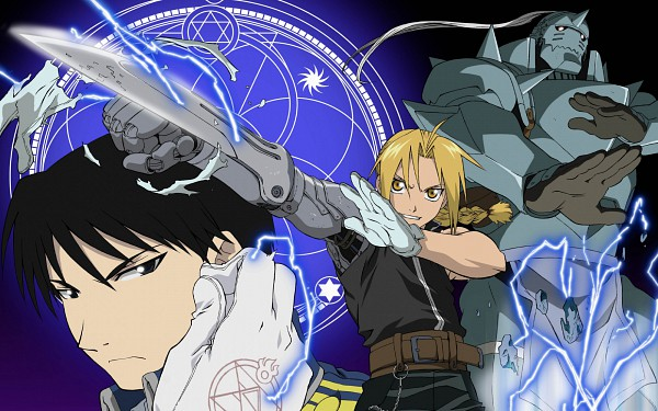 Tags: Anime, SQUARE ENIX, Fullmetal Alchemist, Roy Mustang, Edward Elric, Alphonse Elric, HD Wallpaper, Wallpaper, Elric Brothers