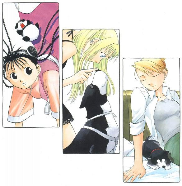 Tags: Anime, Arakawa Hiromu, SQUARE ENIX, Fullmetal Alchemist, Winry Rockbell, May Chang, Den (FMA), Black Hayate, Xiao Mei, Riza Hawkeye, Official Art
