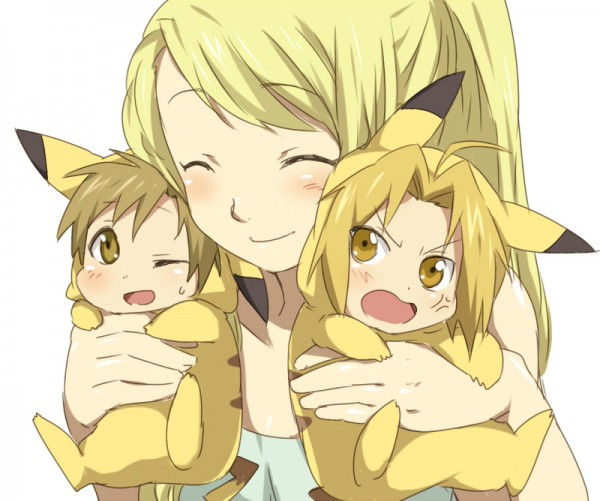 Tags: Anime, Punchiki, Fullmetal Alchemist, Alphonse Elric, Edward Elric, Winry Rockbell, Pikachu (Cosplay), Pixiv