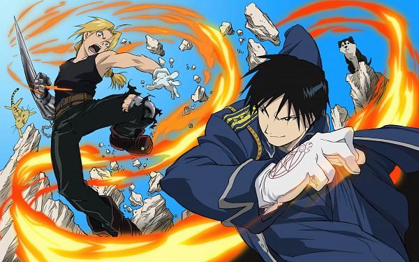 Tags: Anime, SQUARE ENIX, Fullmetal Alchemist, Edward Elric, Black Hayate, Roy Mustang, HD Wallpaper, Wallpaper