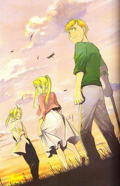 Tags: Anime, Arakawa Hiromu, Fullmetal Alchemist, Edward Elric, Winry Rockbell, Alphonse Elric, Mobile Wallpaper