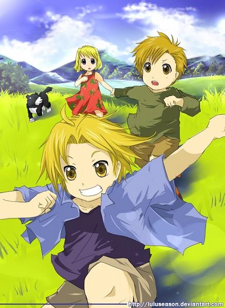 Tags: Anime, LuluSeason, Fullmetal Alchemist, Winry Rockbell, Den (FMA), Alphonse Elric, Edward Elric, Mobile Wallpaper