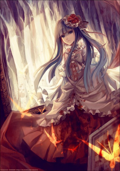 Tags: Anime, Sinsora, 07th Expansion, Umineko no Naku Koro ni, Furudo Erika, Guro Lolita, Chess, Mobile Wallpaper, Pixiv, Fanart