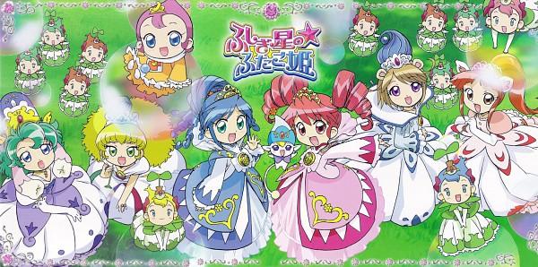 Tags: Anime, Fushigiboshi no☆Futagohime, Mirlo, Rein, Seed Princesses, Milky, Sophie (Futagohime), Altessa, Lione, Fine, Shishimimi, Gown, Official Art