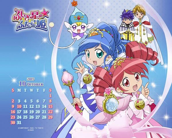 Tags: Anime, Fushigiboshi no☆Futagohime, Fine, Poomo, Rein, Shade (Futagohime), Bright (Futagohime), Gown, Calendar 2005, Calendar (Source)