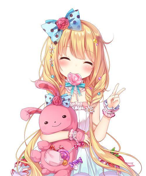 Tags: Anime, Amashiro Natsuki, THE iDOLM@STER: Cinderella Girls, Futaba Anzu, Bonbon, Spotted Bow, PNG Conversion, Pixiv, Fanart, Fanart From Pixiv