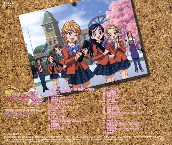 Tags: Anime, Futari wa Precure, Kujo Hikari, Fujita Akane, Misumi Nagisa, Fujimura Shougo, Yukishiro Honoka, Kubota Shiho, Takashimizu Rina, Graduation, School Building, CD (Source), Official Art