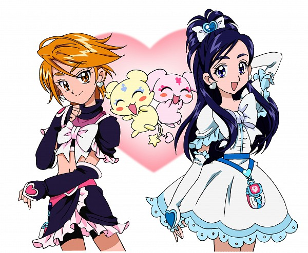 Tags: Anime, Futari wa Precure, Mipple, Cure Black, Cure White, Misumi Nagisa, Yukishiro Honoka, Mepple, Bike Shorts, Official Art
