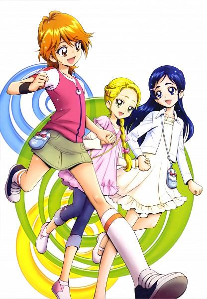 Tags: Anime, Kamikita Futago, Futari wa Precure, Kujo Hikari, Misumi Nagisa, Yukishiro Honoka, Capri Pants, Official Art, Scan