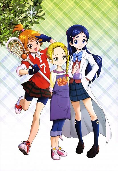 Tags: Anime, Kamikita Futago, Futari wa Precure, Kujo Hikari, Misumi Nagisa, Yukishiro Honoka, Lacrosse, Scientist, Bike Shorts, Capri Pants, Official Art, Scan