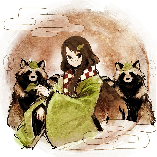 Tags: Anime, Hima (Mizu Ni Tsuyoi), Touhou, Futatsuiwa Mamizou, Object On Head, Raccoon, Leaf On Head, Mamizou Futatsuiwa