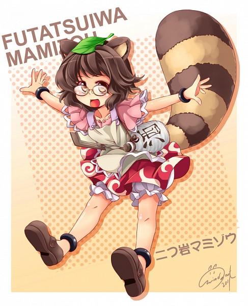 Tags: Anime, Windart, Touhou, Futatsuiwa Mamizou, Sake Bottle, Object On Head, Leaf On Head, Mamizou Futatsuiwa