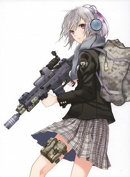 Tags: Anime, Fuyuno Haruaki, 100 Masters of Bishoujo Painting, Assault Rifle, Scan, HD Wallpaper
