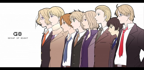 Tags: Anime, Pixiv Id 356824, Axis Powers: Hetalia, France, United States, Japan, Germany, North Italy, Canada, Russia, United Kingdom, Fanart From Pixiv, Pixiv