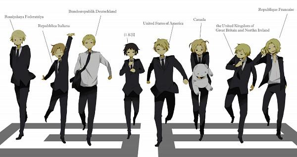 Tags: Anime, Kinari, Axis Powers: Hetalia, France, United States, Japan, Kumajirou, Germany, North Italy, Canada, Russia, United Kingdom, Polar Bear