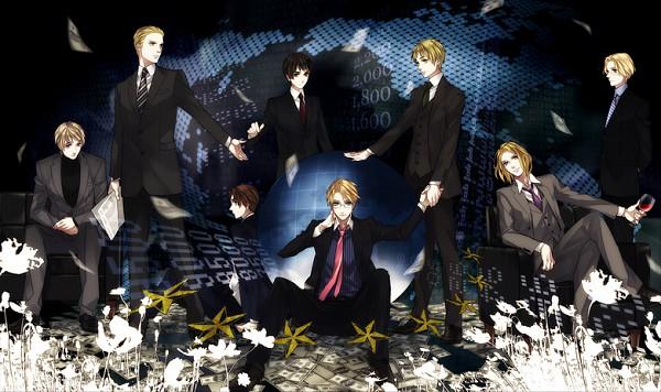 Tags: Anime, Litha, Axis Powers: Hetalia, United States, Japan, Germany, North Italy, Canada, Russia, United Kingdom, France, Newspaper, Money