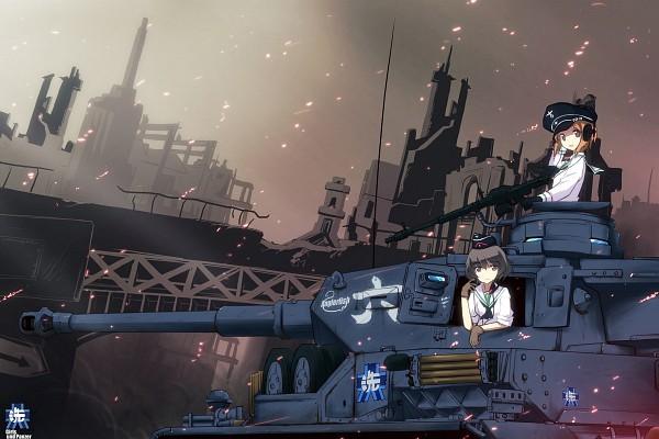 Tags: Anime, Pixiv Id 4912634, GIRLS und PANZER, Akiyama Yukari, Nishizumi Miho, Tank, Machine Gun, Pixiv, Fanart, Fanart From Pixiv