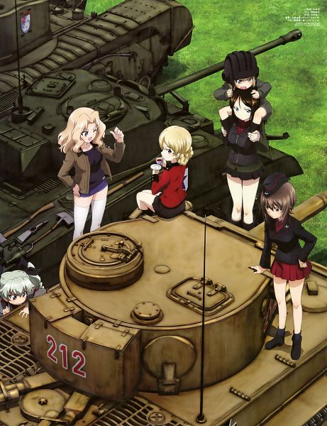 Tags: Anime, Sugimoto Isao, Actas, GIRLS und PANZER, GIRLS und PANZER Illustrations 2, Kay (GIRLS und PANZER), Katyusha (GIRLS und PANZER), Nonna (GIRLS und PANZER), Nishizumi Maho, Darjeeling (GIRLS und PANZER), Anzai Chiyomi, Garrison Cap, Tank