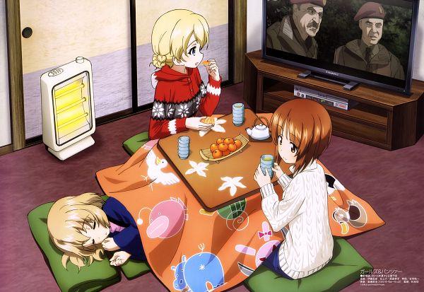 Tags: Anime, Itou Takeshi, Actas, GIRLS und PANZER, Megami #177 2015-02, Nishizumi Miho, Darjeeling (GIRLS und PANZER), Katyusha (GIRLS und PANZER), Watching TV, Kotatsu, Scan, Official Art