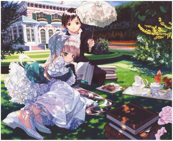 Tags: Anime, Takeda Hinata, GOSICK, Victorique de Blois, Kazuya Kujo, Picnic, Garden, Official Art