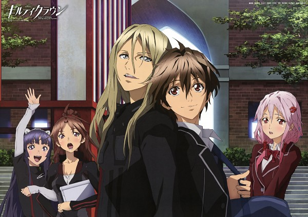Tags: Anime, GUILTY CROWN, Yuzuriha Inori, Tsutsugami Gai, Tsugumi (GUILTY CROWN), Shinomiya Ayase, Ouma Shu, Official Art, Funeral Parlor