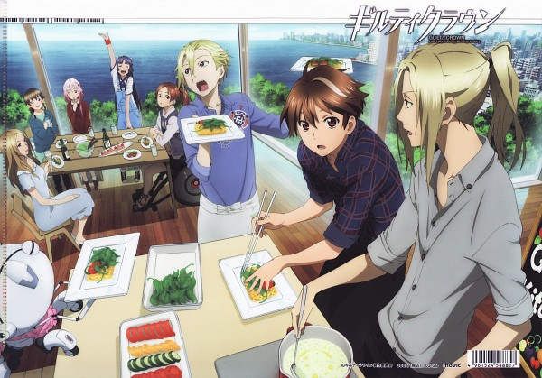 Tags: Anime, GUILTY CROWN, Daryl Yan, Yuzuriha Inori, Kuhouin Arisa, Tsutsugami Gai, Menjou Hare, Tsugumi (GUILTY CROWN), Shinomiya Ayase, Ouma Shu, Salad, Fyu-neru, Official Art