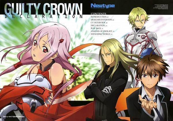 Tags: Anime, Kikuchi Satonobu, GUILTY CROWN, Newtype 2011-12, Daryl Yan, Ouma Shu, Yuzuriha Inori, Tsutsugami Gai, Official Art