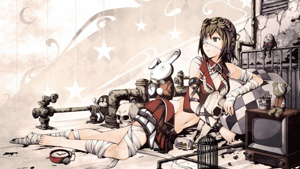 Tags: Anime, Torigoe Takumi, VOCALOID, GUMI, Stuffed Dog, 1600x900 Wallpaper, Bandaged Legs, Wallpaper, Fanart, Facebook Cover, Pixiv