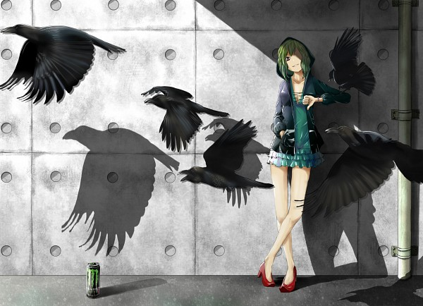 Tags: Anime, Pixiv Id 3298117, VOCALOID, GUMI, Dark Colors, Ravens, Thumbs Down