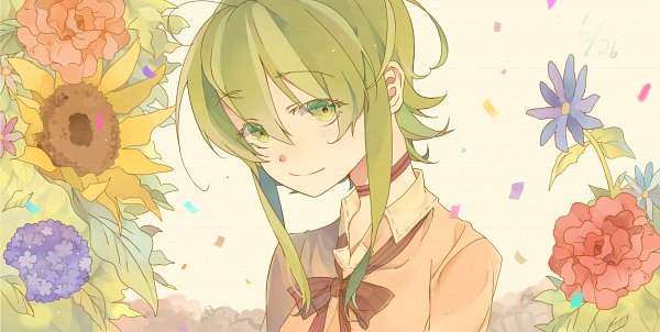 Tags: Anime, P (Pixiv2950376), VOCALOID, GUMI, Brown Bow, Facebook Cover, Wallpaper, Fanart From Pixiv, Fanart, Pixiv