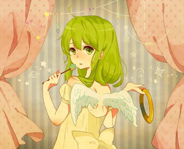 Tags: Anime, Kise, VOCALOID, GUMI, Dark Colors, Glowing Hair, Beautiful Eyes, Star Wand, Cream