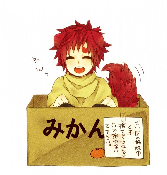 Tags: Anime, Pixiv Id 1621448, NARUTO, Gaara, In a Box, Yellow Outerwear, Tape, No Eyebrows, Pixiv, Fanart From Pixiv, Fanart