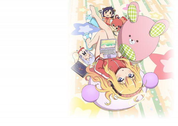 Tags: Anime, Kumagai Katsuhiro, Dogakobo, Gabriel Dropout, Tsukinose Vignette April, Shiraha Raphiel Ainsworth, Kurumizawa Satanichia McDowell, Tenma Gabriel White, Cover Image, Official Art