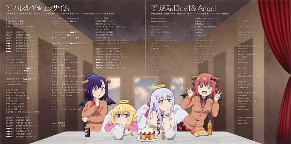 Tags: Anime, Dogakobo, Gabriel Dropout, Tsukinose Vignette April, Shiraha Raphiel Ainsworth, Kurumizawa Satanichia McDowell, Tenma Gabriel White, Official Art, Scan, CD (Source)