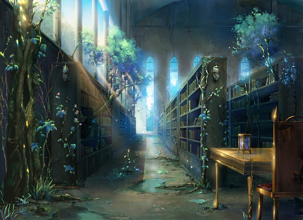 Tags: Anime, Gahakuna Kuroneko, Puddle, Stained Glass, No Character, Library, Ivy, Pixiv, Original