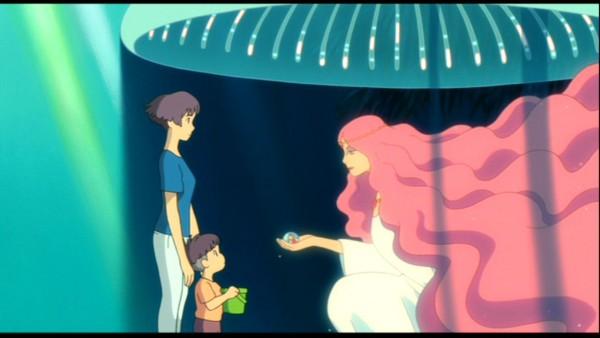 Tags: Anime, Studio Ghibli, Gake no Ue no Ponyo, Sousuke  (Ponyo), Granmamare, Lisa (Ponyo), Wallpaper, Screenshot, Ponyo On The Cliff By The Sea
