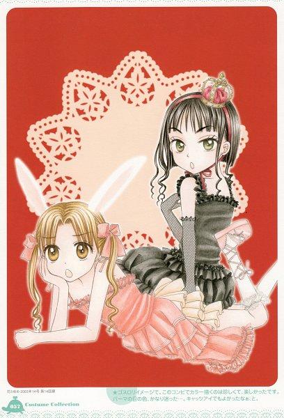 Tags: Anime, Higuchi Tachibana, Gakuen Alice, Sakura Mikan, Shouda Sumire, Doily, Human Chair, Mini Crown, Official Art, Scan