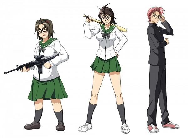 Tags: Anime, Gakuen Mokushiroku: HIGHSCHOOL OF THE DEAD, Hirano Kouta, Komuro Takashi, Takagi Saya, Assault Rifle, Baseball, Highschool Of The Dead