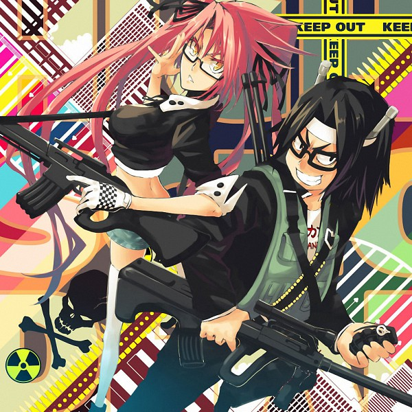 Tags: Anime, Ochakai Shinya, Gakuen Mokushiroku: HIGHSCHOOL OF THE DEAD, Hirano Kouta, Takagi Saya, Grenade, Crime Scene Tape, Highschool Of The Dead