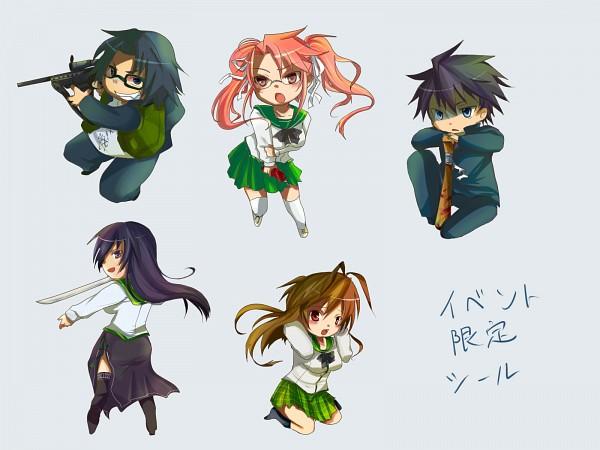 Tags: Anime, Pixiv Id 1011277, Gakuen Mokushiroku: HIGHSCHOOL OF THE DEAD, Busujima Saeko, Takagi Saya, Hirano Kouta, Komuro Takashi, Miyamoto Rei, Wallpaper, Highschool Of The Dead