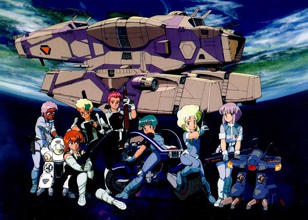 Tags: Anime, Kenichi Sonoda, Anime International Company, Gall Force, Patty (Gall Force), Lufy (Gall Force), Catty, Eluza, Pony (Gall Force), Rabby, Ramy (Gall Force), Spaceship, Official Art