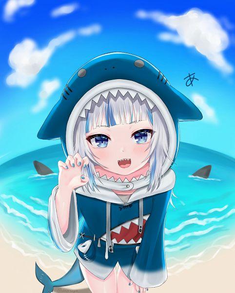 Tags: Anime, Pixiv Id 40597343, Gawr Gura Ch., Hololive, Gawr Gura, Shark, Fisheye Effect
